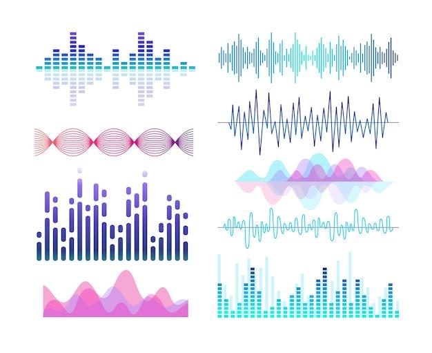 Звуковые эффекты эквалайзер аудиоплеера. набор элементов дизайна линий и кривых. ритм саундтрека.