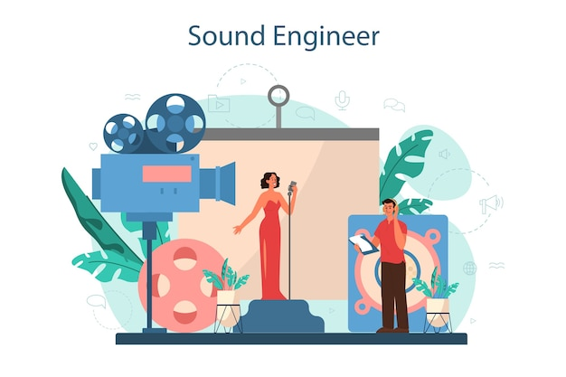 사운드 엔지니어 개념. 음악 제작 산업, 녹음 스튜디오 장비. 영화 사운드 트랙 제작자.
