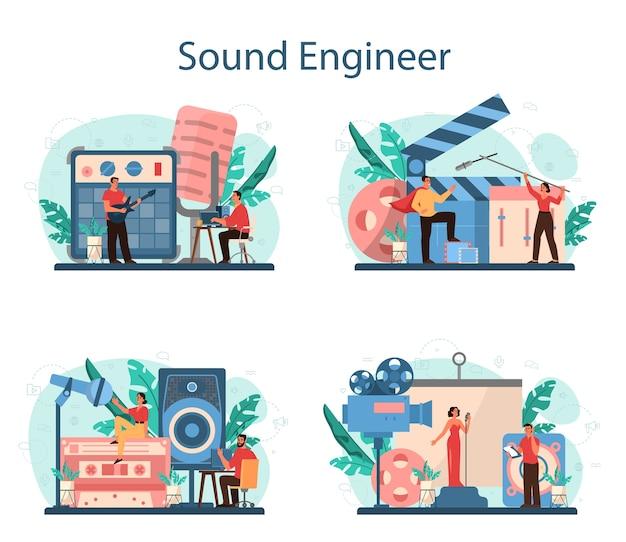사운드 엔지니어 개념을 설정합니다. 음악 제작 산업, 녹음 스튜디오 장비. 영화 사운드 트랙 제작자. 만화 스타일의 벡터 일러스트 레이션