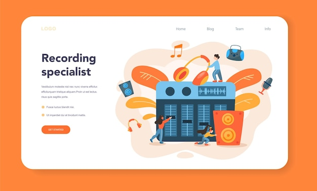 Sound engineer web banner or landing page