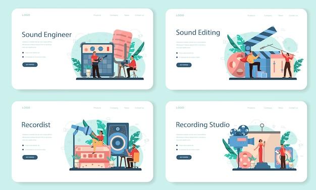 사운드 엔지니어 웹 배너 또는 방문 페이지 세트