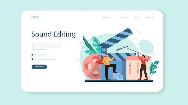 Sound engineer web landing page. music production industry, sound recording studio equipment. creator of a movie soundtrack. vector illustration in cartoon style