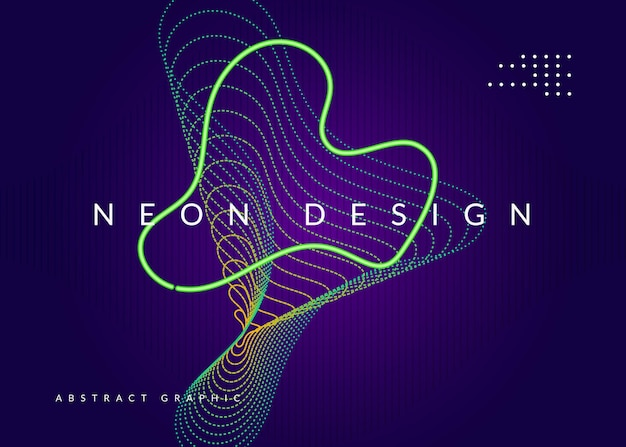 Sound flyer. cool show cover design. dynamic fluid shape and line. neon sound flyer.