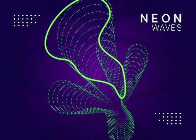 Звуковой флаер. макет брошюры творческой дискотеки. динамическая плавная форма и линия. неоновый звуковой флаер. электро танцевальная музыка