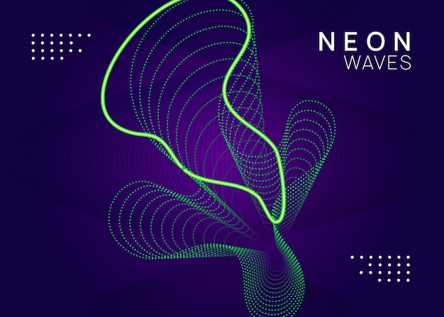 Sound flyer. creative discotheque brochure layout. dynamic fluid shape and line. neon sound flyer. electro dance music