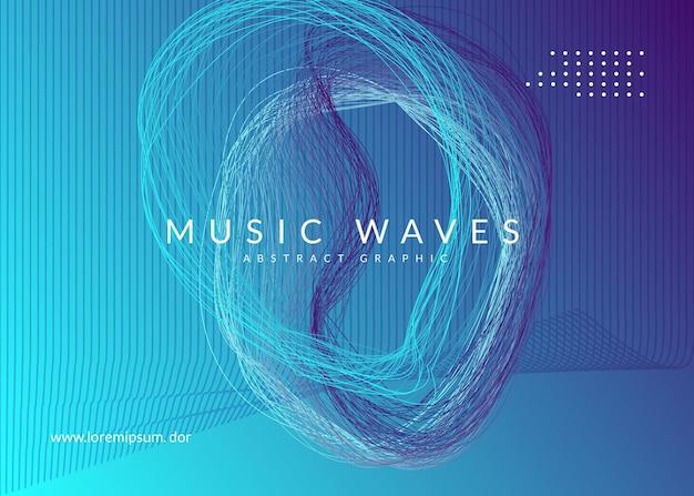 サウンドフライヤー。動的な流体の形状と線。最小限のショーカバーテンプレート。ネオンサウンドフライヤー。エレクトロダンスミュージック。電子フェストイベント。クラブdjポスター。テクノトランスパーティー。