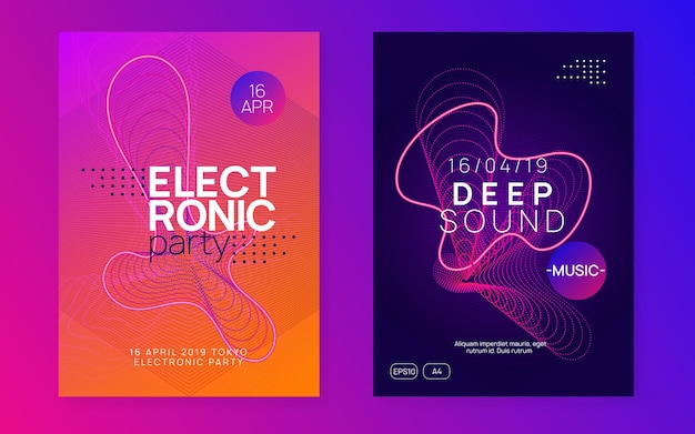 Sound flyer. energy concert banner set. dynamic fluid shape and line. neon sound flyer. electro dance music. electronic fest event. club dj poster. techno trance party.