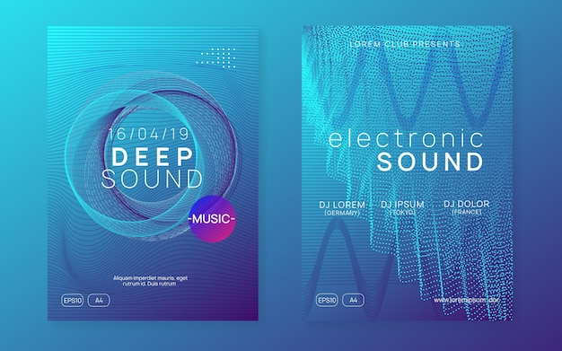 Sound flyer. modern discotheque banner set. dynamic fluid shape and line. neon sound flyer. electro dance music. electronic fest event. club dj poster. techno trance party.