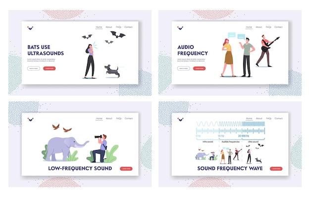 Набор шаблонов целевой страницы звуковых волн. крошечные персонажи в огромной инфографике, демонстрирующие амплитуду и высоту звука. схема резонанса тихого или громкого звука. мультфильм люди векторные иллюстрации