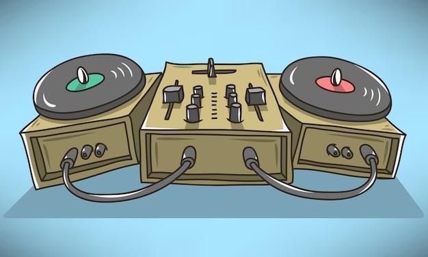 Звуковой микшер и вертушки мультяшный иллюстрации. гомеоморфными