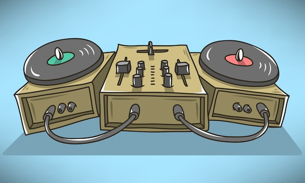 Sound mixer and turntables cartoon illustration.  phic