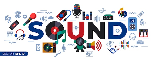 Sound and music design icons collection
