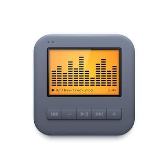 사운드 음악 플레이어 인터페이스 아이콘, 오디오 시스템 벡터 3d 아이콘 흰색 절연. 모바일 애플리케이션용 디자인 요소, 웹사이트 ui 그래픽, 오디오 플레이어 앱용 이퀄라이저 및 제어판