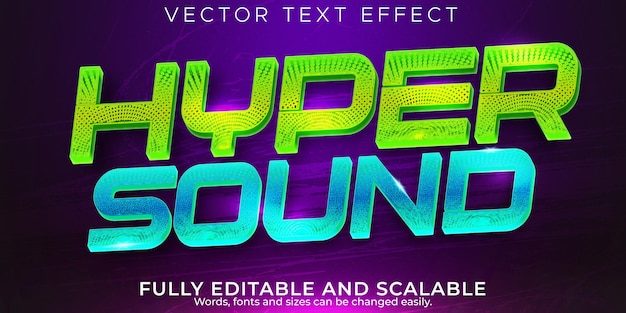 Sound music text effect, editable bar and club text style