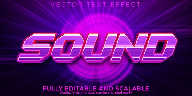 Sound music text effect, editable neon and retro text style