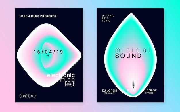 Звуковая вечеринка. веселое искусство для журнала. флаер инди-хауса. дискотека и дискотека вектор. абстрактный узор для макета брошюры. розовая и бирюзовая звуковая вечеринка