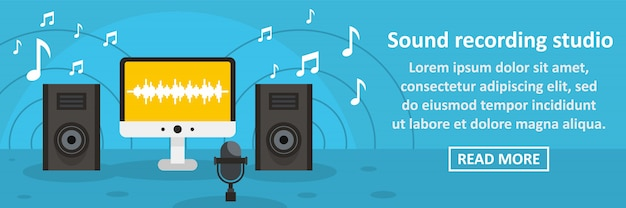 Sound recording studio banner template horizontal concept