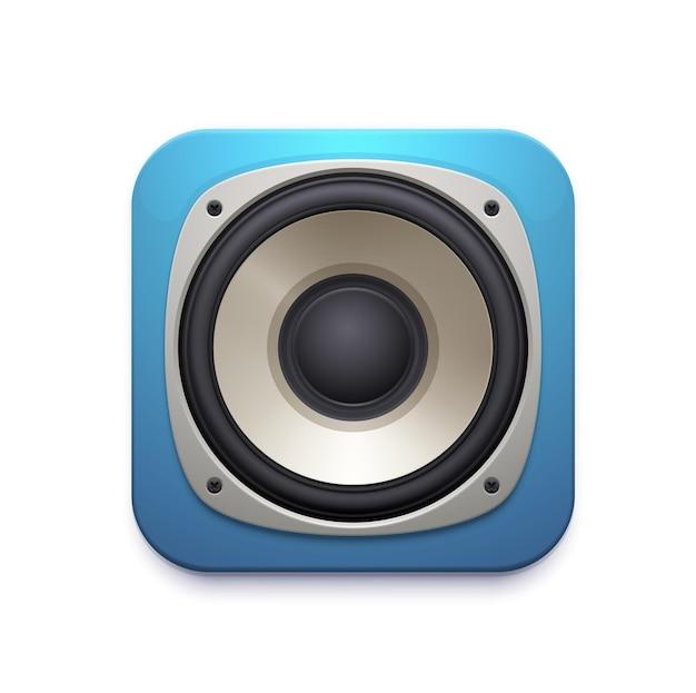 Значок динамика звука аудиосистемы музыкальной стереосистемы. векторная квадратная кнопка музыкального мобильного приложения или приложения, 3d синий динамический символ изолированного сабвуфера громкоговорителя, дизайн развлекательных технологий