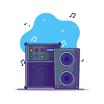 Sound system and speaker cartoon illustration