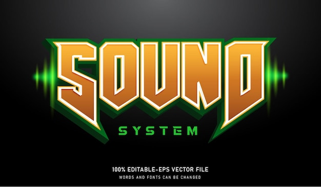 Sound system text effect editable font