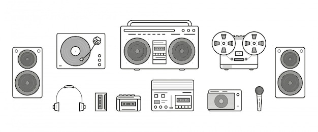 Sound systems retro collection. portable player, headphones, cassette player, stereo system, speakers, record player, tape recorder, mic, radio, vinyl player. contour line art illustration set