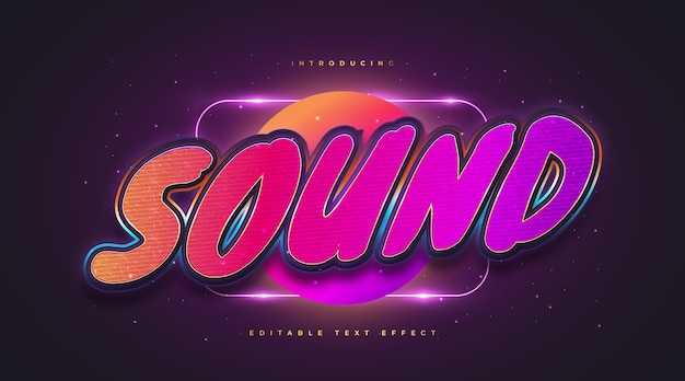 Sound text in colorful retro style with textured and embossed effect. editable text style effect