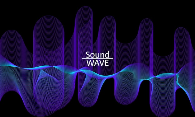Sound wave. abstract 3d shape. flow fluid background.