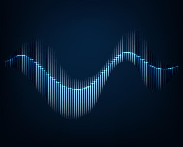 音波。輝く曲線の抽象的な背景。