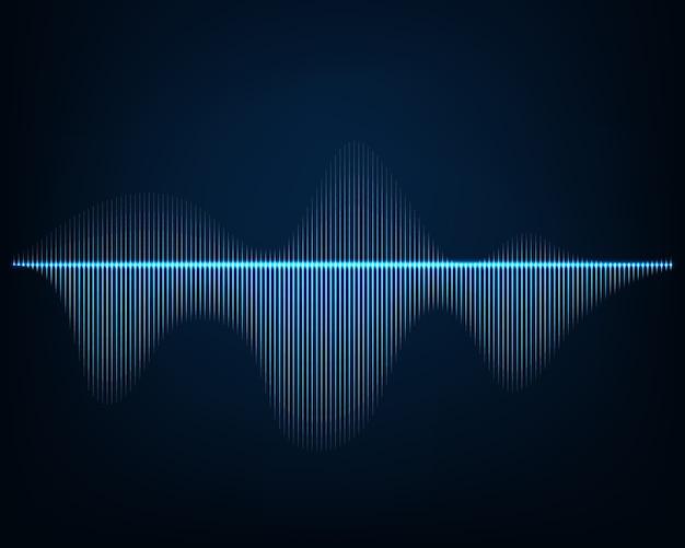 Звуковая волна. абстрактный фон светящихся линий кривой.