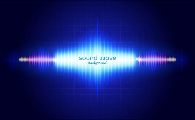 Фон звуковой волны с синим неоновым светом