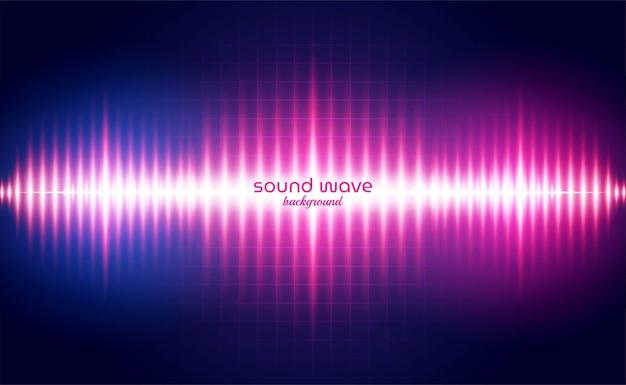 Фон звуковой волны с красным неоновым светом