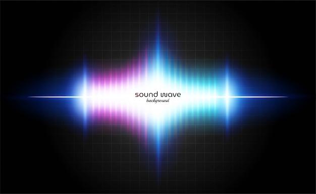 Фон звуковой волны с ярким неоновым светом