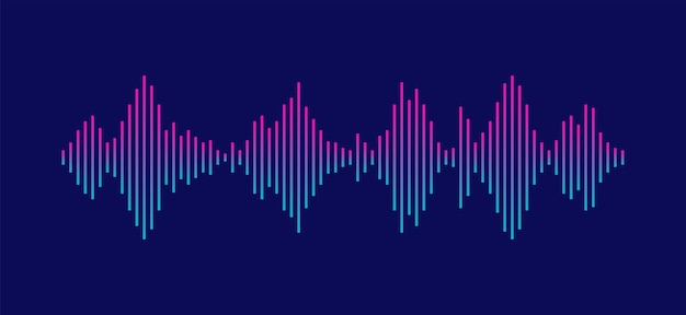 Sound wave equalizer isolated on dark background voice and music audio concept