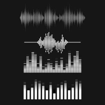 Sound wave equalizer vector design set