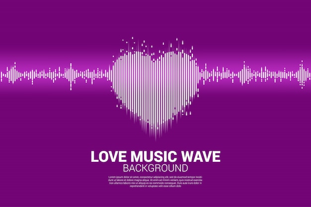 Sound wave heart icon music equalizer background