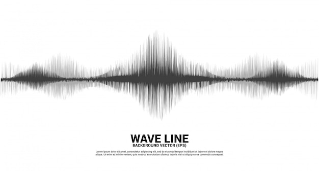 Sound wave line curve on white