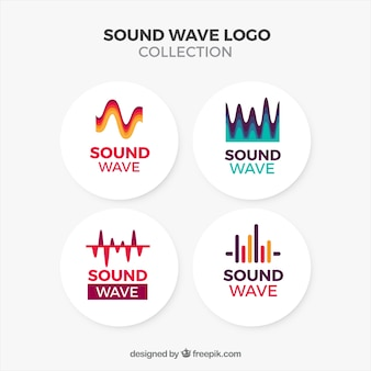 Sound wave logo collection with flat design