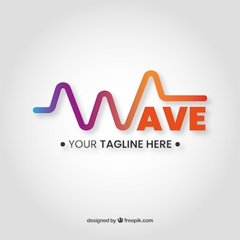 Sound wave logo with flat design