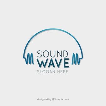 Логотип звуковой волны с плоским дизайном