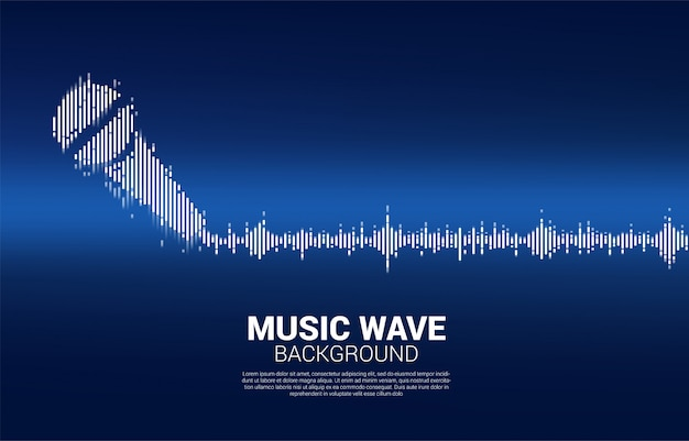 Sound wave microphone icon equalizer background.