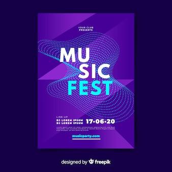 Шаблон постера звуковой волны музыки