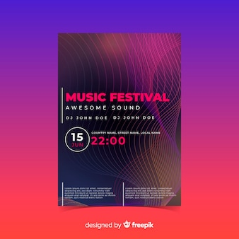 Sound wave music poster template