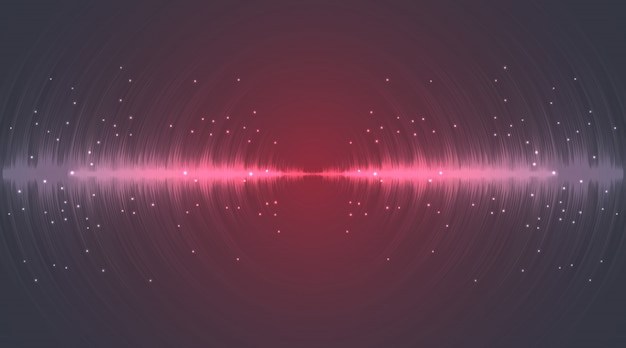 Sound wave neon flash lines in grey and red on gradient background