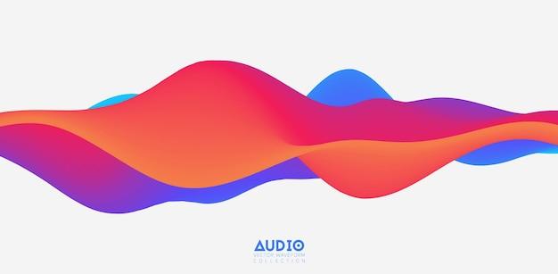 Sound wave visualization. 3d colorful solid waveform.