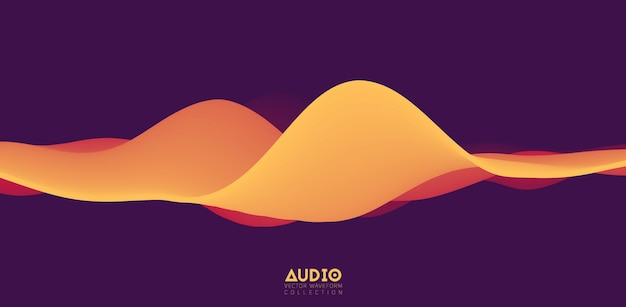 音波の視覚化。 3dオレンジ色の実線波形。音声サンプルパターン。