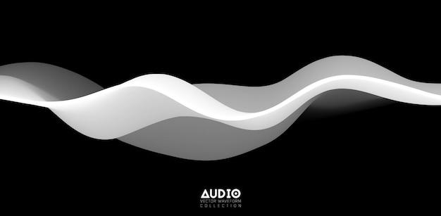음파 시각화. 3d 흑백 솔리드 파형.