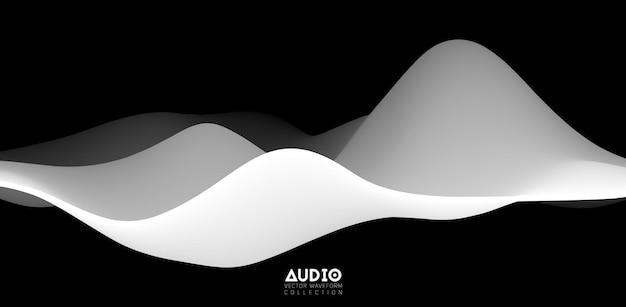 Sound wave visualiztion. 3d black and white solid waveform.
