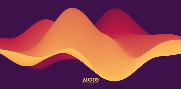 Визуализация звуковой волны. сплошная 3d-форма волны оранжевого цвета