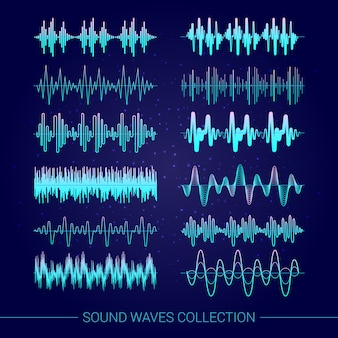 Sound waves collection with audio symbols on blue background