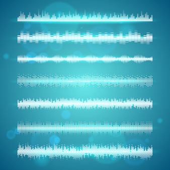 Sound waves display horizontal lines set
